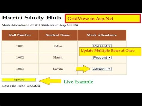 online tutorial net update multiple rows in gridview control at once in asp