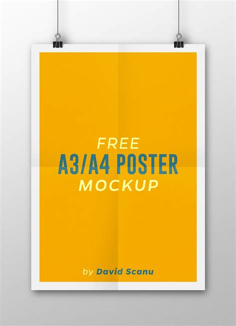 a3 a4 flyer poster mock up psd template free psd