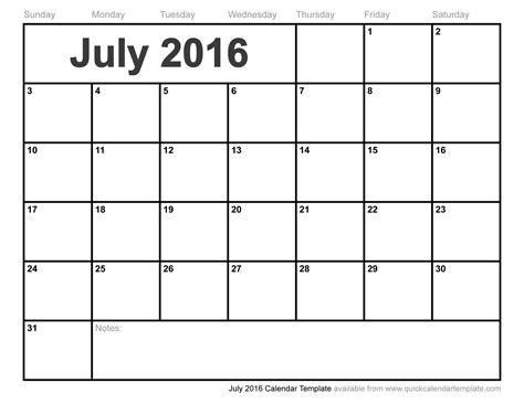 Calendar July 2016 July 2016 Calendar Template
