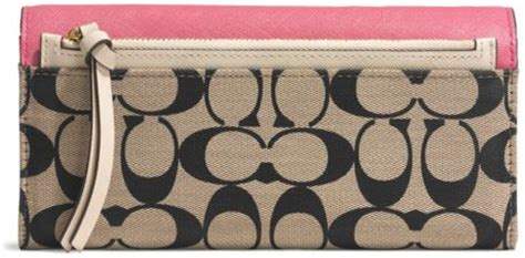 Coach Legacy Signature Cotton Slim Flap by Coach Legacy Slim Envelope Wallet With Pop Up Pouch In