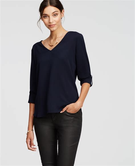Navy Blue High Neck Blouse by Lyst Crepe V Neck Blouse In Blue