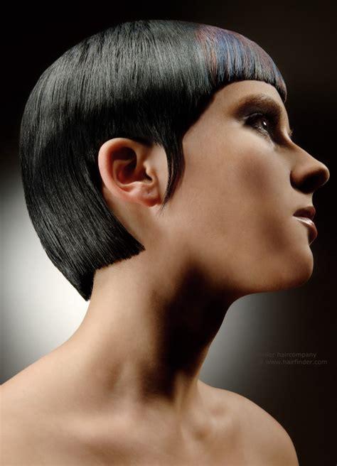 what is geometric hair cutting sleek geometric cut for slick blue black hair that