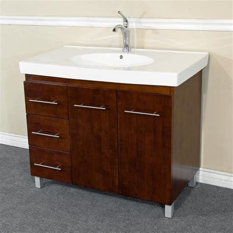 bathroom vanities with drawers on left side 39 in single sink vanity wood walnut left side drawers