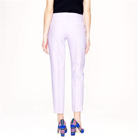 j crew collection wool silk scalloped pant in purple lyst