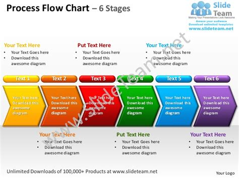 procedure flow chart template process flow chart 6 stages powerpoint templates 0712