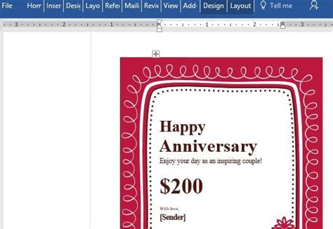 free customizable card template birthday gift certificate card template for word