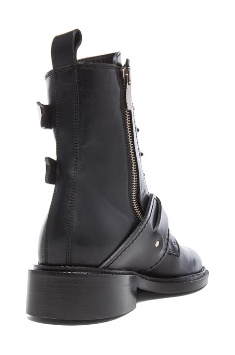 black leather moto boots barbara bui moto leather boots in black lyst