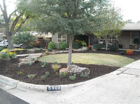 front yard xeriscape front yard landscape large boulders sweeping mulch beds