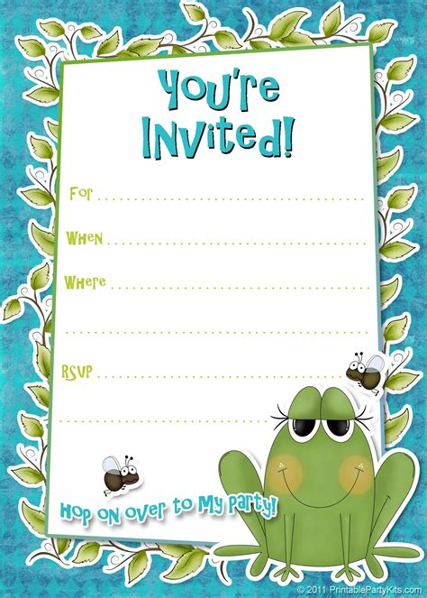 Birthday Invitation Card Template Free by Free Printable Invitations Templates
