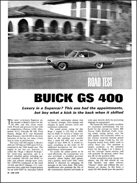 Buick GS 400 Stage 1 Test