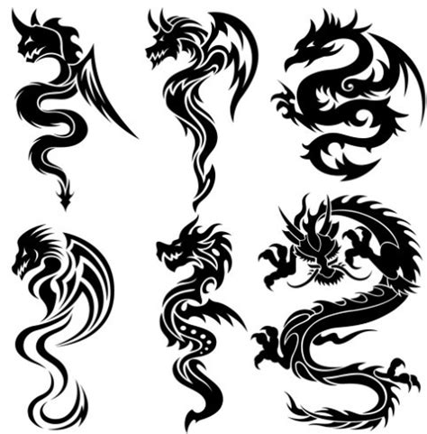 free black china dragon paper cut pattern vector 04 titanui