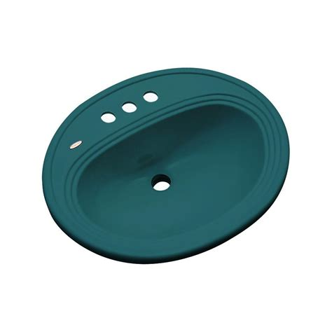 thermocast tierra drop in bathroom sink in teal 85441