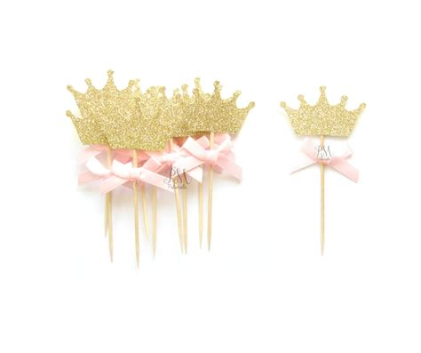 Topper Crown Glitter 12 pink bow gold glitter crown cupcake toppers crown