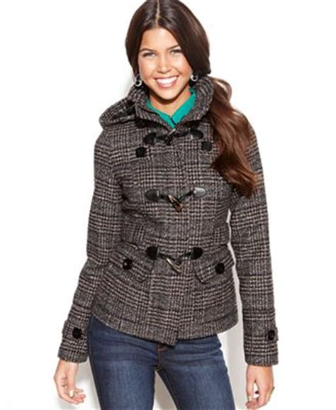 celebrity pink toggle coat celebrity pink juniors hooded toggle front plaid tweed
