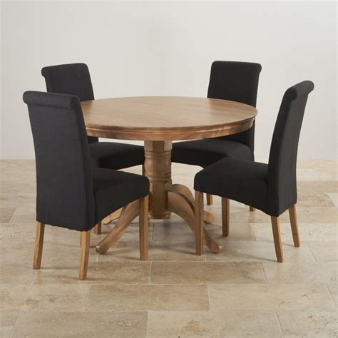 4ft Round Dining Table In Natural Oak 4 Black Fabric Chairs Dining Table With Fabric Chairs