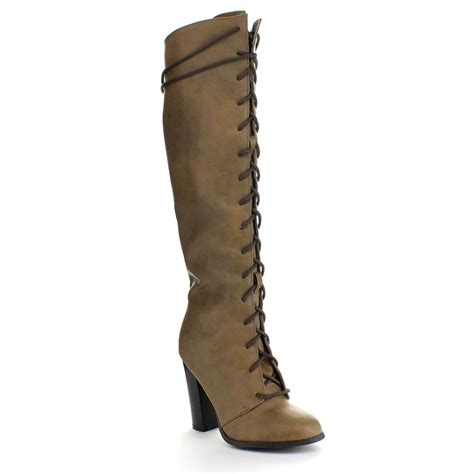 qupid reborn 20 womens almond toe lace up chunky heel