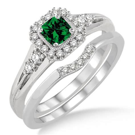 1 5 carat emerald bridal set halo engagement