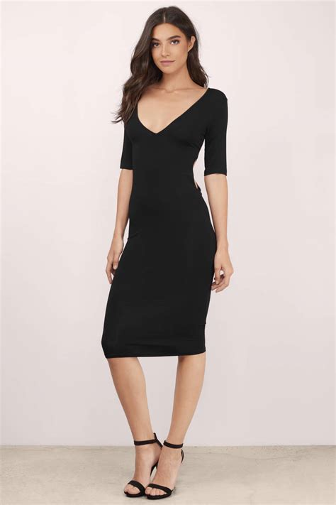 Midi Dress 2 by Black Dress Twist Back Dress Half Sleeve Black Dress