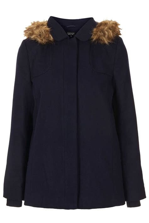 swing coat with hood topshop petite fur hooded swing coat in blue navy blue