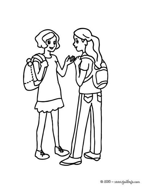 personas conversando para colorear dibujos para colorear 2 amigas en el patio es hellokids com