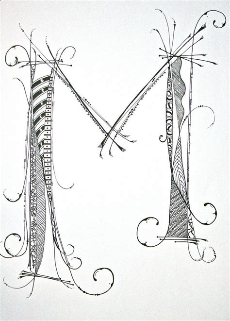 M Drawing Photo by Zentangle Alphabet Drawing On Bright White Drawing Paper
