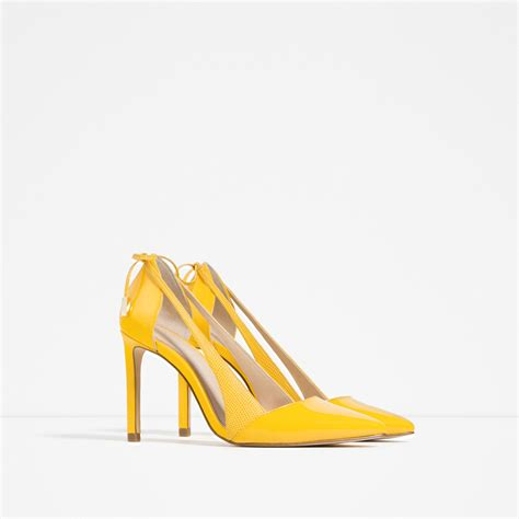 yellow high heel shoes zara high heel shoes with bow in yellow lyst