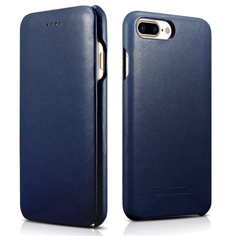 Original Leather Iphone 7plus icarer iphone 7 plus genuine leather luxury curved edge protection flip navy