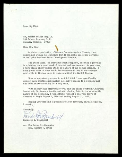 Sle Letter Leave Absence Letter From Randolph T Blackwell To Mlk Requesting A Leave Of Absence From The S C L C The