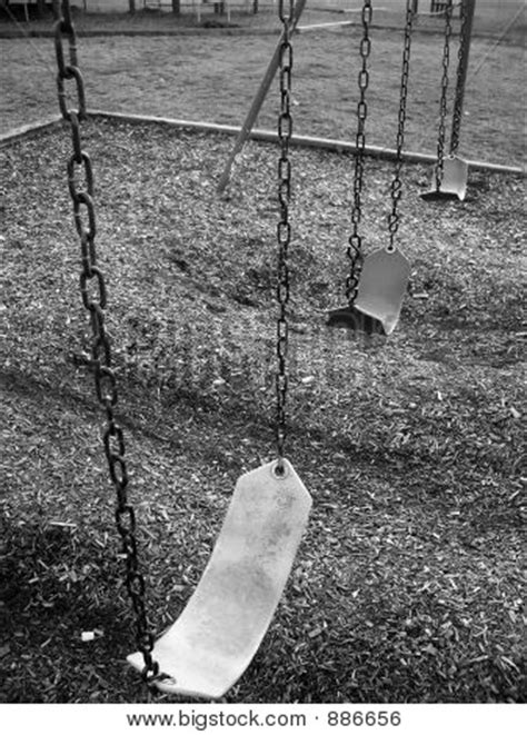 swing black and white empty school swing set black white image photo bigstock