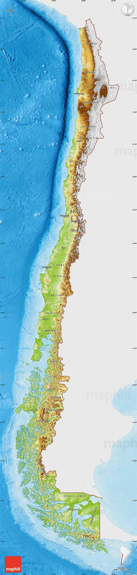 physical map of chile chile physik karte