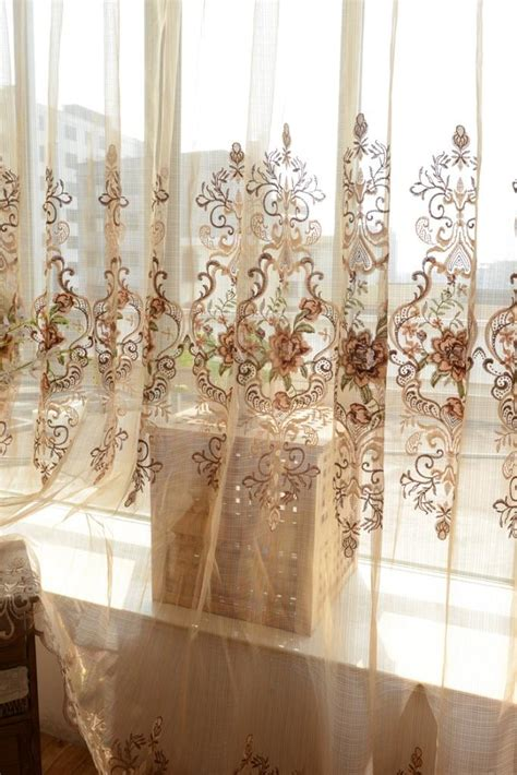 sheer curtains with embroidered flowers custom made french country provincial embroidered floral