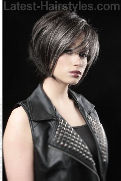 hairstyles long grey layered with black or dark chocolate brown lowlights highlights or ombre balayage short hairstyle with long layers and fringe beautiful