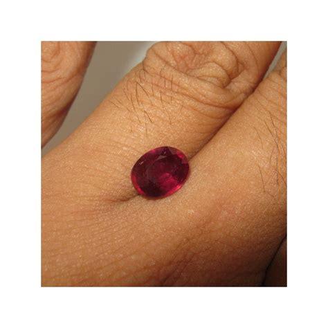 Merah Oval Cutting batu mulia ruby merah pekat oval 2 42 carat