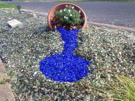 blue recycled glass landscape glass mulch landscape