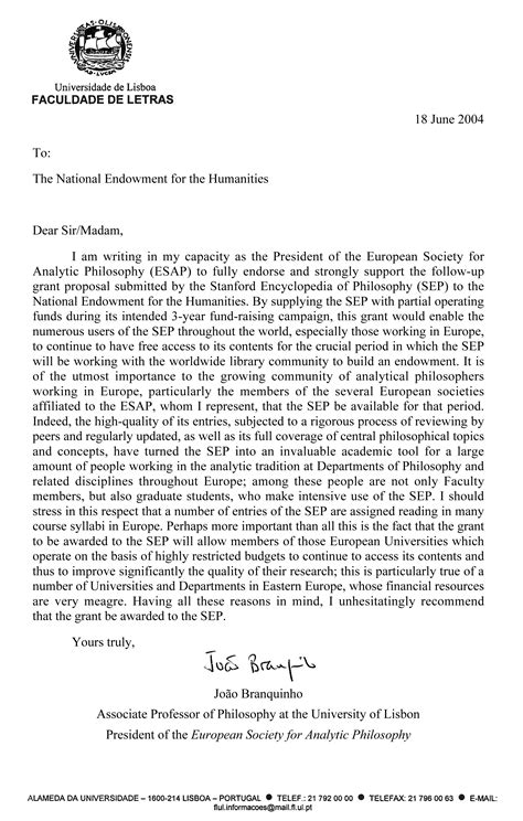Support Letter For Grant Esap S Letter In Support Of Neh Grant
