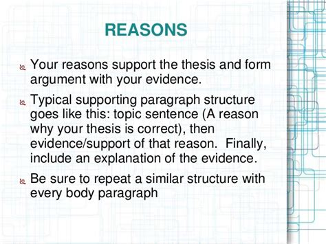 Thesis Support Essay by Argumentative Essay Ppt