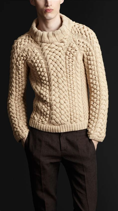 knit sweter burberry prorsum chunky cable knit sweater in beige for