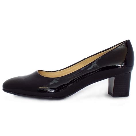shoes heel kaiser low heel court shoes in black patent
