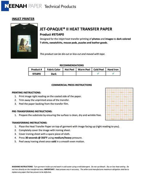 neenah printable vinyl neenah ink jet opaque ii dark transfer paper 11x17 100