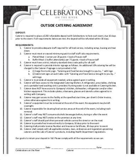 Catering Contract 13 Free Pdf Word Documents Download Free Premium Templates Catering Terms And Conditions Template