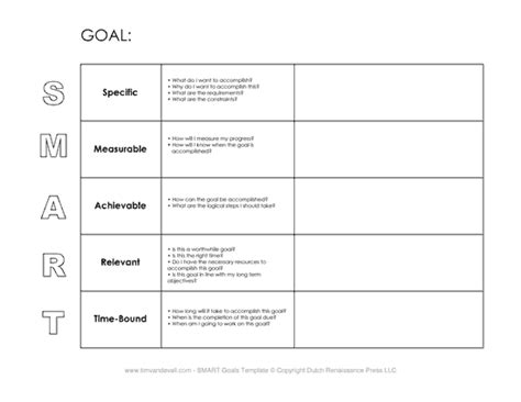 Smart Goal Setting Worksheet by Tim De Vall Comics Printables For