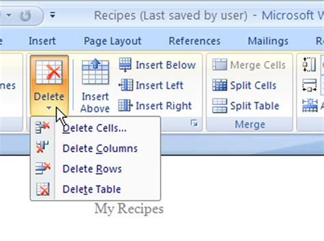 Delete Row From Table by How To Add And Delete Cells Columns And Rows In A Word
