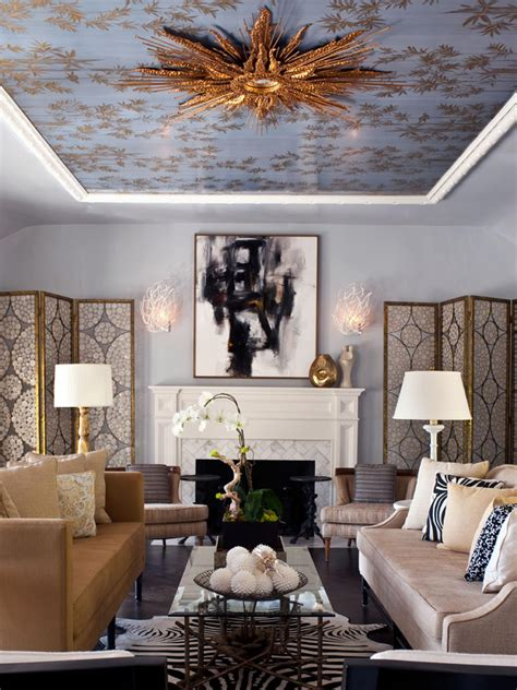 blue and gold living room photos hgtv