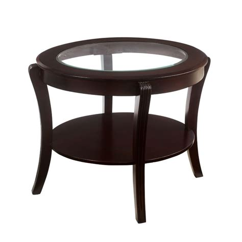 Espresso End Tables by Furniture Of America Stemplez Glass Top End Table In