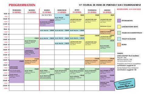 Grille Horraire by Programmation Festival De De Portneuf Sur L
