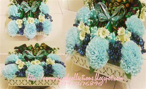 Tisu Leher Tissue Leher Neck Paper gubahan hantaran bunga tisu tema blue white color