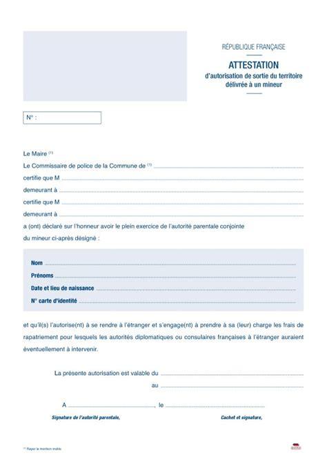 autorisation de si鑒e social attestation d autorisation de sortie de territoire pour