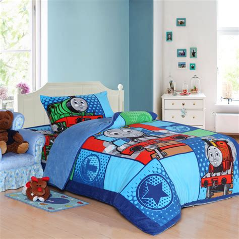 queen size kid bedroom sets train thomas kids bedding set queen size cartoon blue