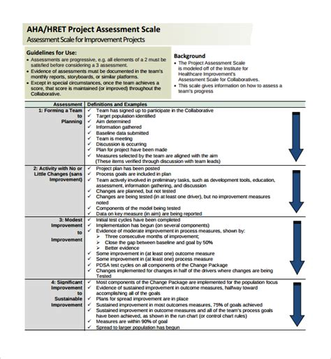 project assessment template sle project assessment template 9 free documents in