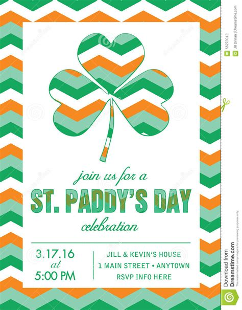 St Patrick S Day Party Invitation Template Vector Stock Vector Illustration Of Irish Patty St S Day Invitation Template
